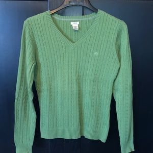 Green Izod  V neck Sweater Size Med.